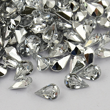 Garment Accessories Pointed Back Taiwan Acrylic Rhinestone Cabochons, Faceted Drop, Clear, 13x8x5mm(X-ACRT-M001-8x13mm-02)