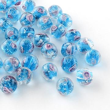 Handmade Luminous Inner Flower Lampwork Beads, Round, Deep Sky Blue, 8mm, Hole: 1mm(X-LAMP-R129-8mm-04)