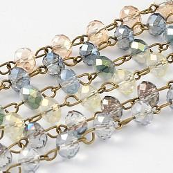 chaînes de perles facettées rondelles en verre électroplaqué faites main pour la fabrication de colliers, avec épingle à oeil en laiton plaqué bronze antique, non soudée, teints, couleur mélangée, 39.4; à propos de 80 pcs / brin(AJEW-JB00145)