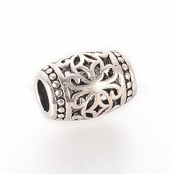 Thai Sterling Silver Beads, Hollow, Barrel with Flower, Antique Silver, 7x5mm, Hole: 2.4mm(X-STER-G029-49AS)