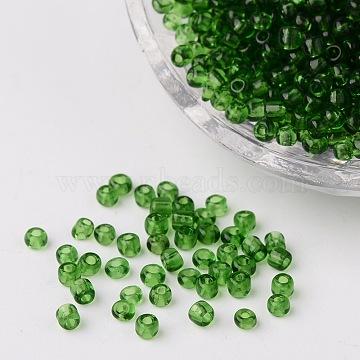 8/0 стакан бисер, прозрачный, круглые, темно-зеленые, 3 мм, Отверстие : 1 мм ; около 1097 шт / 50 г(X-SEED-A004-3mm-7B)