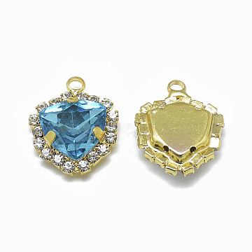 K9 Glass Rhinestone Pendants, with Light Gold Tone Brass Findings, Triangle, Aquamarine, 19.5x16x7mm, Hole: 2mm(X-RGLA-T129-12mm-05KC)