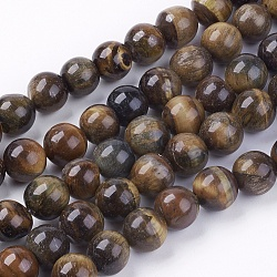 Natural Tiger Eye Round Bead Strands, 10mm, Hole: 1mm; about 38pcs/strand, 14.9inches