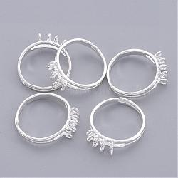 Brass Loop Ring Bases, Adjustable, Silver Color Plated, Plated, Size: about 18mm in diameter(EC155-S)