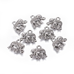 Vintage Elephant Charms, Tibetan Style Charms, Lead Free and Nickel Free, Gunmetal, 12x14x2.5mm, Hole: 1mm