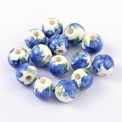 Perles de porcelaine imprimées manuelles, rond, bleu royal, 10mm, Trou: 3mm(X-PORC-Q199-10mm-19)