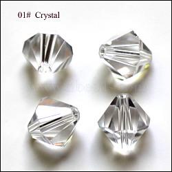 imitation perles de cristal autrichien, AAA grade, facettes, Toupie, effacer, 4.55x5 mm, trou: 0.7~0.9 mm(SWAR-F022-5x5mm-001)