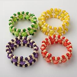 Cadeau de fête des enfants bracelets en bois, Les bracelets d'enveloppe triple pour les enfants, avec des perles acryliques, couleur mixte, 44mm(BJEW-JB01324)
