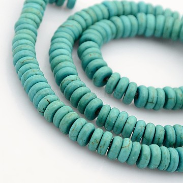 Synthetic Turquoise Beads Strands, Heishi Beads, Flat Round/Disc, Turquoise, 6x2.5mm, Hole: 1mm; about 168pcs/strand, 16.5inches(X-G-J184-01)