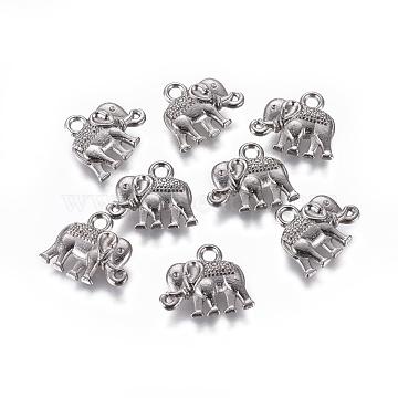 Vintage Elephant Charms, Tibetan Style Alloy Charms, Cadmium Free & Nickel Free & Lead Free, Gunmetal, 12x14x2.5mm, Hole: 1mm(X-PALLOY-ZN-47017-B-FF)