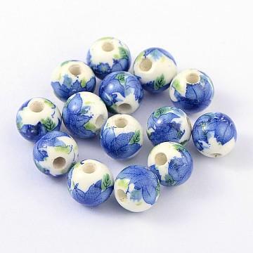 Handmade Printed Porcelain Beads, Round, Royal Blue, 10mm, Hole: 3mm(X-PORC-Q199-10mm-19)