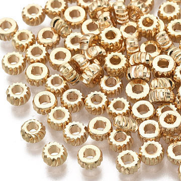 Brass Beads, Nickel Free, Rondelle, Twist, Real 18K Gold Plated, 3x1.5mm, Hole: 1.2mm(X-KK-T063-001B-NF)