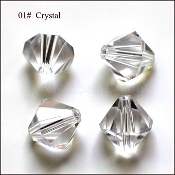 Imitation Austrian Crystal Beads, Grade AAA, Faceted, Bicone, Clear, 4.55x5mm, Hole: 0.7~0.9mm(SWAR-F022-5x5mm-001)