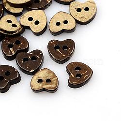 Boutons de noix de coco, bouton de couture de base sculpté 2 trous, cœur, 10x10mm, Trou: 1mm, couleur mixte, 10x10mm, Trou: 1mm(NNA0YZ2)