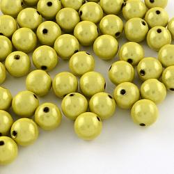 Perles rondes en acrylique peintes par pulvérisation miracle, Perle en bourrelet, Darkkhaki, 8mm, trou: 2 mm; environ 1827 pcs / 500 g(MACR-Q154-8mm-N01)