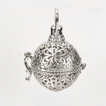Brass Cage Pendants, For Chime Ball Pendant Necklaces Making, Hollow, Round with Flower, Platinum, 28x25.5x21mm, Hole: 6x5mm; Inner Measure: 16.5mm(X-KK-S337-052)