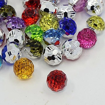 Acrylic Rhinestone Buttons, 1-Hole, Faceted, Round, Mixed Color, 12x11x10mm, Hole: 1mm(X-BUTT-J005-M)