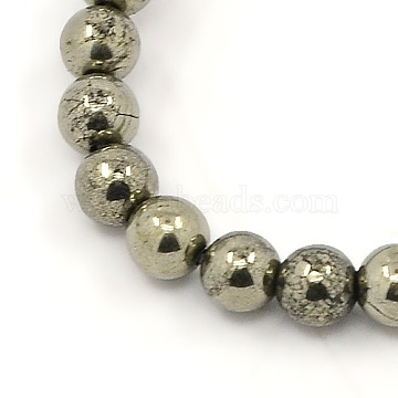 Natural Pyrite Beads Strands, Round, DarkKhaki, 4mm, Hole: 1mm; about 104pcs/strand, 15.5inches(X-G-M009-03F)