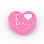 Hot Pink Heart Silicone Beads(SIL-N002-10A)