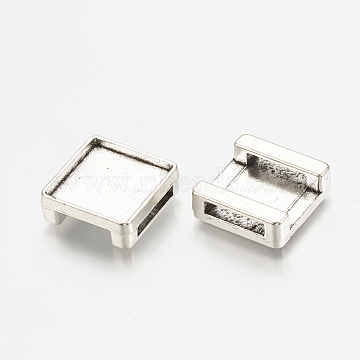 Tibetan Style Alloy Slide Charms Cabochon Settings, Cadmium Free & Lead Free, Square, Antique Silver, Tray: 12mm, 14x14x5.5mm, Hole: 11x2.5mm(X-TIBE-S317-02-AS-LF)
