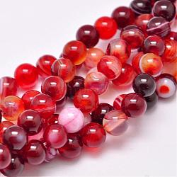 Natural Striped Agate/Banded Agate Bead Strands, Dyed & Heated, Round, Grade A, FireBrick, 4mm, Hole: 0.5mm; about 93pcs/strand, 14.7inches(375mm)
