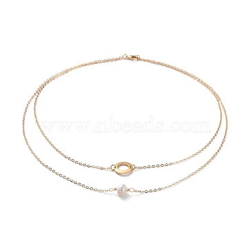 Double Layer Necklaces, with Natural Pearl Beads, 304 Stainless Steel Ring Links, Brass Cable Chains and Lobster Claw Clasps, Golden, 16.34 inches(41.5cm)(NJEW-JN02683)