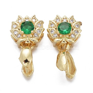 Brass Micro Pave Cubic Zirconia Ice Pick Pinch Bails, Long-Lasting Plated, Lotus, Green & Clear, Real 18K Gold Plated, 17x9x6.5mm, Hole: 2.5x4mm, Pin: 0.7mm(KK-K244-47G)