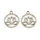 Tibetan Style Flat Round with Lotus Alloy Pendants(X-TIBEP-Q043-300-RS)-1