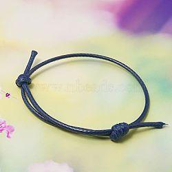 Création de bracelets en corde de polyester ciré coréen, midnightblue, diamètre réglable: 40~70 mm(X-AJEW-JB00011-14)