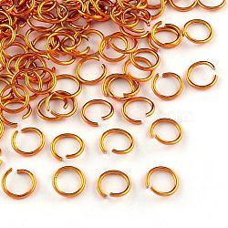fil d'aluminium Anneaux ouvert, d'orange, Jauge 20, 6x0.8 mm; diamètre intérieur: 5 mm; sur 430 pcs / 10 g(X-ALUM-R005-0.8x6-17)