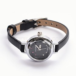 Alloy Cowhide Leather Japanese PC Movement Mechanical Wristwatches, Waterproof, with Stainless Steel Clasps, Black, Platinum, 200x6mm; Watch Head: 29x25x8.5mm, Watch Face: 17mm(X-WACH-F007-06A)