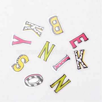 Letter DIY PVC Label Paster Picture Stickers, Mixed Color, 20x8~16mm; about 78pcs/bag(AJEW-L058-12)