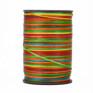 Flat Waxed Thread String, for Leather Sewing Stitching, Colorful, 0.8mm, about 109.36 yards(100m)/roll(X-YC-P003-A17)