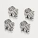 Tibetan Style Alloy Hamsa Hand/Hand of Fatima/Hand of Miriam Beads(X-TIBEB-7722-AS-RS)-2