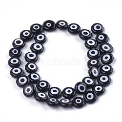 Chapelets de perles vernissées manuelles, plat rond, noir, 9.5~10.5x3.5~4mm, trou: 1.2mm; environ 38 pcs/chapelet, 14.1''~14.5''(LAMP-S191-02C-11)