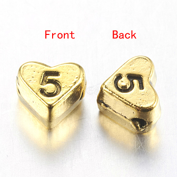 7mm Heart Alloy Beads