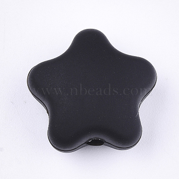 17mm Black Star Silicone Beads