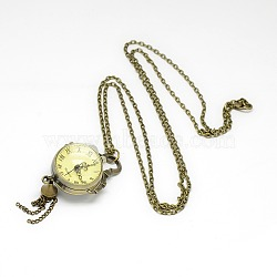 Alloy Round Pendant Necklace Quartz Pocket Watch, with Iron Chains and Lobster Claw Clasps, Antique Bronze, 31.1inches; Watch Head: 85x29x23mm(X-WACH-N011-07A)