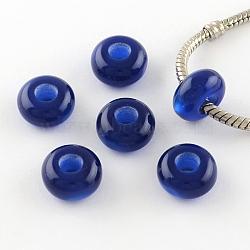 Perles européennes en résine imitation œil de chat, perles de rondelle avec grand trou , bleu, 13~14x7~7.5mm, Trou: 5mm(X-RPDL-S001-03)