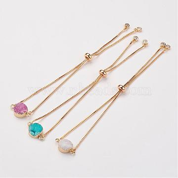 Electroplated Natural & Dyed Druzy Agate Slider Bracelets, Bolo Bracelets, Flat Round, with Brass Chain, Mixed Color, 10-1/4 inch(260mm)x1mm(BJEW-JB02764)