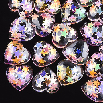 Resin Cabochons, with Paillette, Heart, Colorful, 13.5x14x4.5mm(X-CRES-Q208-06B)