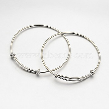 Adjustable Brass Bangles Making, Nickel Free, Platinum, 2-1/2inches(64mm)(X-BJEW-E218-01P-NF)