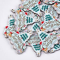 Printed Basswood Big Pendants, Christmas Trees, PaleTurquoise, 51x50.5x3mm, Hole: 2mm