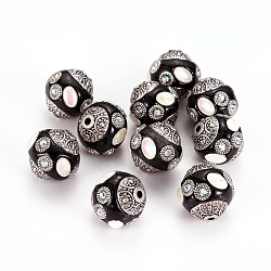 Handmade Indonesia Beads, with Rhinestone and Metal Findings, Round, Antique Silver, Black, 14.5~15x14~14.5mm, Hole: 1.5mm(IPDL-G014-01AS-01)