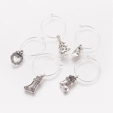 Wine Glass Charm for Christmas, with Brass Finding, Mixed Shape Alloy Pendants, Antique Silver, 36~50mm, 16~26x10~14x2~3mm(AJEW-JO00160)
