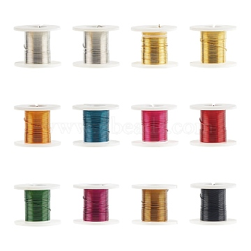 Copper Jewelry Wire, Mixed Color, 0.3mm, about 9 Feet(3 yards)/roll, 12 rolls/box(CWIR-R002-0.3mm)