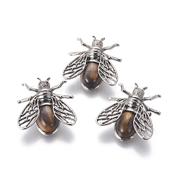 Natural Tiger Eye Brooches, with Brass Findings, Cicada, Antique Silver, 38x36x8mm, Pin: 0.6mm(G-A176-D11)
