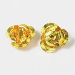 Flower Aluminum Beads, Gold, 7x4mm, Hole: 1mm(ALUM-I001-05)