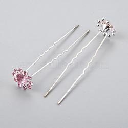 (vente de clôture défectueuse), accessoires de cheveux de dame, fourches à cheveux en fer argenté, avec strass, fleur, rose clair, 71 mm(PHAR-XCP0003-C01)