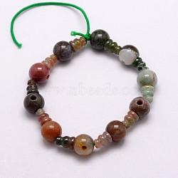 Agate indienne naturelle 3 tranchant de gourou, pour la fabrication de bijoux bouddhiste, perles t-percées, 16.5~18 mm, trou: 2~3 mm; 2 pcs / ensemble , 10 ensembles / brin, 6.5(G-K149-15)